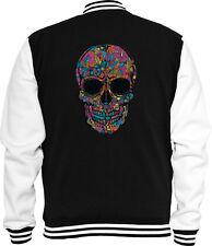 Mexican Sweat College chaqueta Black Flower Skull rockabilly Biker