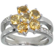 Citrine Gemstone Flower 1.20 carat Sterling Silver Ring