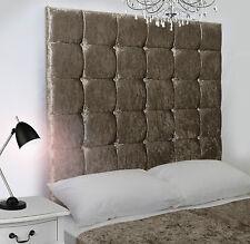Java High Diamante Buttoned Bed Headboard Crush Velvet All Sizes & Colours