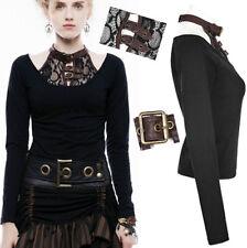 Top haut t-shirt steampunk gothique lolita collier cuir dentelle sangle Punkrave
