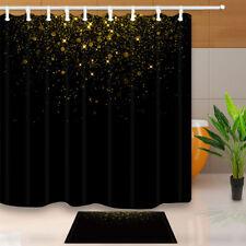 Gold Stars on Black 70*70 Inch Bathroom Waterproof Fabric Shower Curtain & Hooks