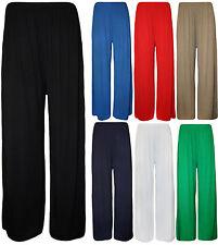 New Womens Ladies Plus Full Length Plain Palazzo Wide Leg Trousers Legging Pants