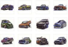 """12 NEW 3"""" x 4"""" VENDING MACHINE PRISMATIC HOT-ROD CARS DIE-CUT STICKERS YOU PICK"""