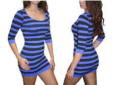 Sexy Seamless Stripes Neck 3/4 Sleeve Tunic Mini Dress Stretchy Style S1726