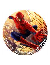 """SPIDERMAN personalizzati CAKE TOPPER 8 """"Circle Carta Wafer / Glassa foglio"""