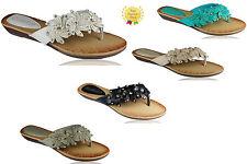 New Girls Womens ladies summer beach flat thong flower flip flop slippers size 5