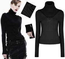 Haut top pull bi-matière gothique punk lolita fashion côtelé mitaine Punkrave