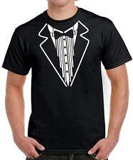 T-SHIRT SMOKING mit FLIEGE Anzug Krawatte Hemd Fasching Kostüm Funshirt Buttler