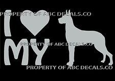 VRS LOVE My Dog GREAT DANE German Heart Adoption Shelter Rescue CAR VINYL DECAL