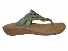 "Cobb Hill Grace Green Leather 1.5"" Heel Thong Sandals"