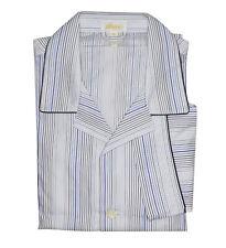Brioni Hombre Azul Blanco 100% Algodón Rayas Pijama