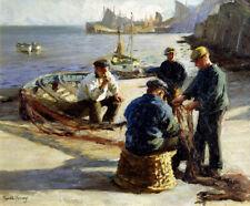 "HAROLD HARVEY ""Mending the Nets, Newlyn"" COMPANIONSHIP fishing sea CANVAS/PAPER"
