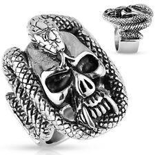 Stainless Steel Fanged Skull w/ Snake Coil Biker Ring Size 9-15