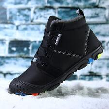 Kids Waterproof Winter Snow Boots Outdoor Fur Lined Shoes Boys Warm Sneakers