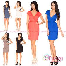 Womens Sexy Mini Draped Dress Short Sleeve Tulip Style V-Neck Sizes 8- 18 5416