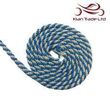 10mm 100% Coton Naturel Corde Avec Ganse Bleu Ciel Blanc