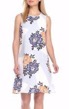 Nine West Canyon Denim Blue Multi Floral Georgette Shift Dress