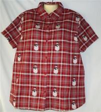 Women's Christmas Snowman Shirt 1X 2X 3X Red Plaid 100% Cotton NWT