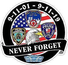 9/11  Never Forget Sept 2001 Vinyl Decal Sticker. SAR Police, Fire, EMS