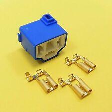 H4-2B 3 Pin Female Ceramic Connector Socket Bulb Headlight Plug + 3 Terminals