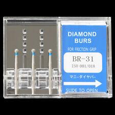 10 Packs BR-31 MANI DIA-BURS Dental High Speed Handpiece Diamond Burs FG 1.6mm