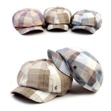 Unisex Mens Womens Madras Check Baker Boy Cabbie Gatsby Flat Cap Newsboy Hats