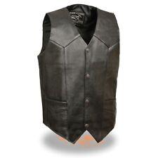 Event Leather - Men's LIGHTWEIGHT Classic Snap Front Biker Vest  **EL1310GO BLK