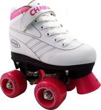 Childrens Roller Skates Girls White Pacer Charger Quad Skates