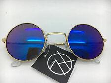 Unisex Gold Frame Iridium Mirrored Lenses John Lennon Type Round Sunglasses