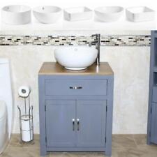 Bathroom Vanity Grey Painted Wood Wash Stand & White Ceramic Basin 502GCBC