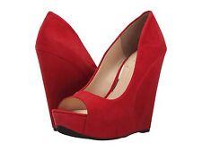 Women Jessica Simpson Bethani Peep-Toe Wedges, Size 6 Lipstick JS-BETHANI