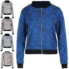 Womens Ladies Contrast Floral Leaf Lace Crop Bomber Biker Vintage Jacket Top