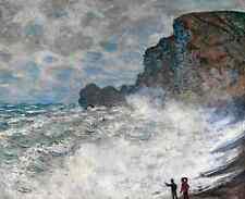 Monet 1883, Rough Weather at Etretat, Fade Resistant HD Art Print or Canvas