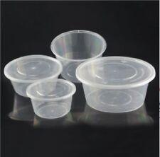 2oz 4oz 8oz 10oz 12oz Clear Plastic ROUND Containers+Lids DeliPots Sauce OFFER