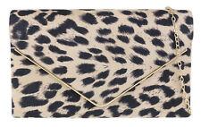 Plain Faux Leather Clutch Bag Metallic Frame Pony Skin Leopard Night Out Handbag