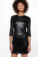 BOOHOO BRENDA DRESS BLACK LACE FRONT PREMIUM MICRO SHIFT MINI DRESS UK 10 8 BNWT