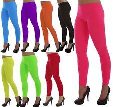 """Neon UV 1980""""s Ladies Girl Leggings Multi Colour Dance Hen Flo Fancy Dress Party"""
