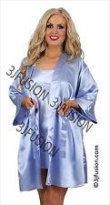Satin Chemise Nightdress Slip & Wrap Set Robe Kimono Dressing Gown FREE POST (BK