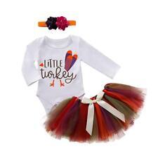 Baby Girls Clothes Set Print Romper+Tutu Skirt+Headdress Thanksgiving Suit