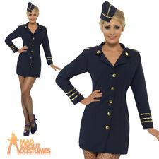 Adult Flight Attendant Costume Sexy Air Stewardess Ladies Fancy Dress UK 8-18