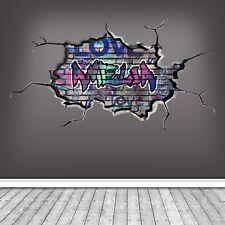 3D PERSONALISED CUSTOM GRAFFITI CRACKED WALL ART STICKER DECAL MURAL WSDPGN119