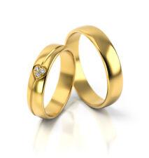 Ein Paar Trauringe Eheringe Gelbgold Herzform Verlobungsringe Etui Steine PL314