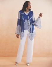 Ashro Dress Tatiana Pant Suit Church Wedding Party Cruise Blue White  6 8 10 12