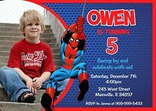 Spiderman, Superhero, Birthday Party Invitation