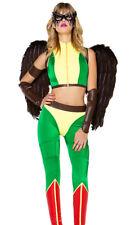 Forplay Fly High Super Hero Comic Hawkgirl Green & Yellow 5pc Costume