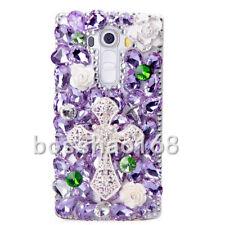 Handmade Luxury Bling Jewelled Rhinestone Diamonds cross flower case cover #C