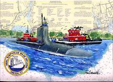 NAVAL SUBMARINE BASE NEW LONDON Art Print USS Hawaii Sub Tug Boat Veteran GD