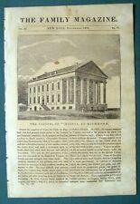 1835 Engraving & Text CAPITAL OF VIRGINIA AT RICHMOND