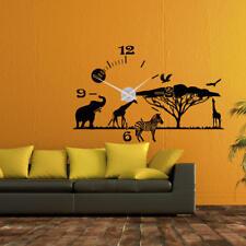 Wandtattoo Uhr KARLSSON Wanduhr Landschaft Afrika Line Zebra +385+
