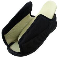 Mens Ladies Open Toe Very Wide E/5E Opens Out Flat Memory Foam Diabetic Slippers